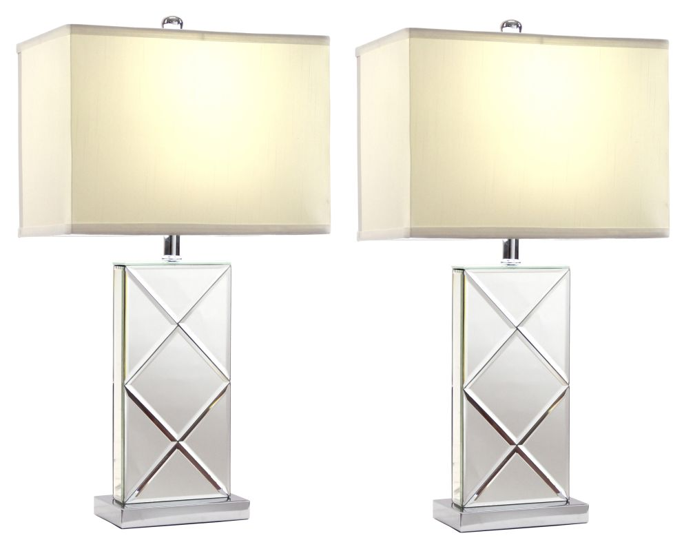 Aspire Home Accents 9944 Rory Mirrored Table Lamp (Set of 2) Clear