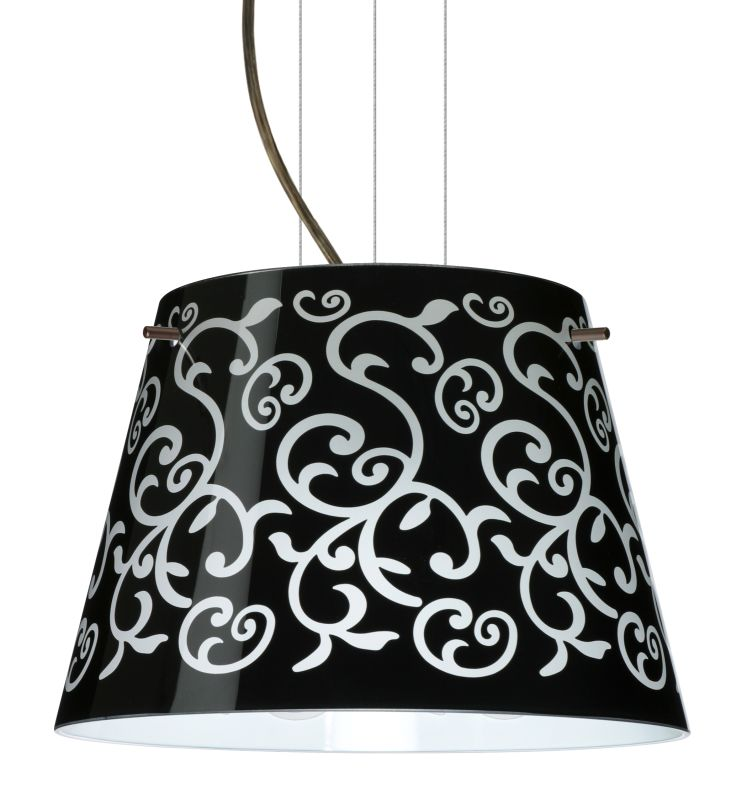 BESA Lighting 1KG-4393BD Amelia 1 Light Cable-Hung Pendant with Black