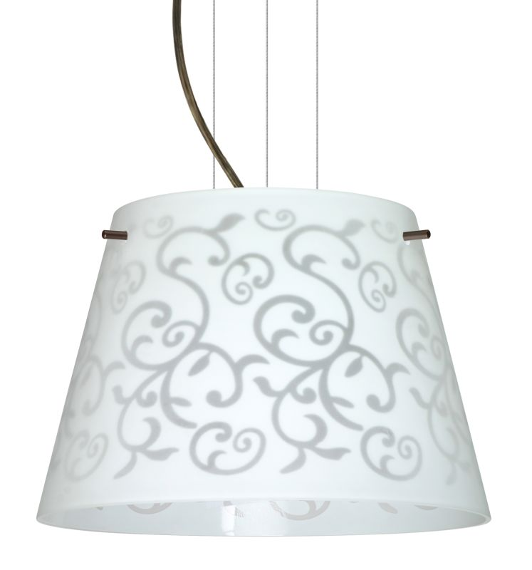 BESA Lighting 1KG-4393WD Amelia 1 Light Cable-Hung Pendant with White