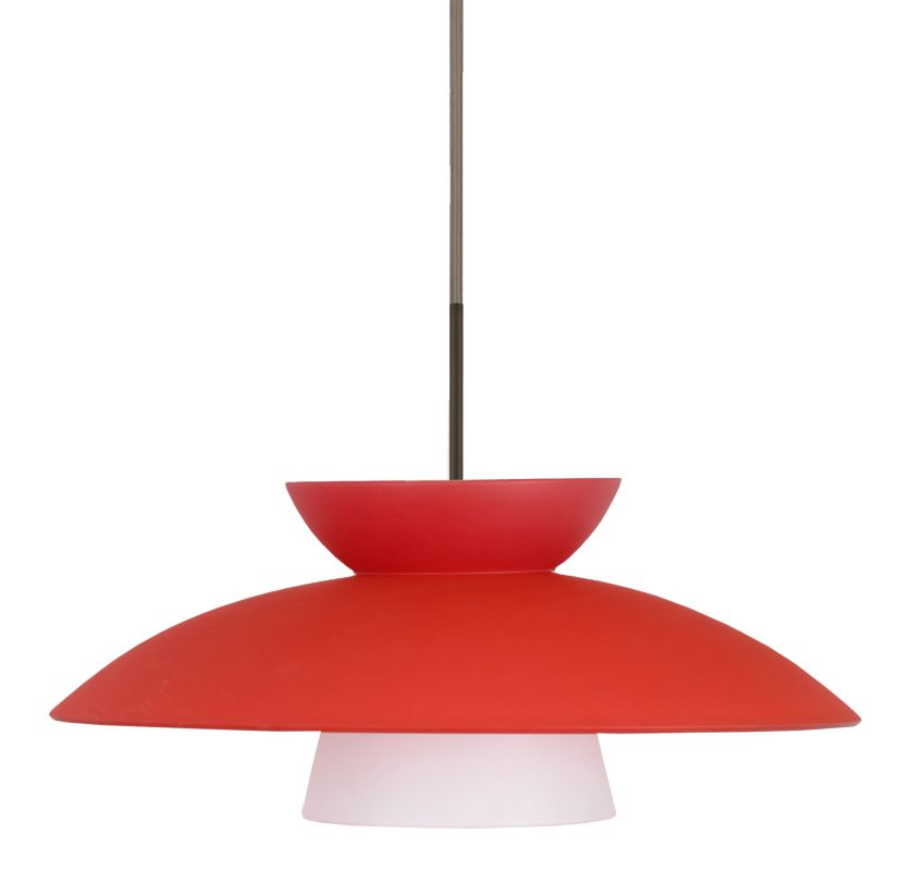 Besa Lighting 1JT-451331 Trilo 1 Light Cord-Hung Pendant with Red