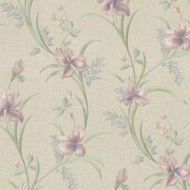 Brewster 2532-20467 Misty Lavender Lily Trail Wallpaper Misty Lavender