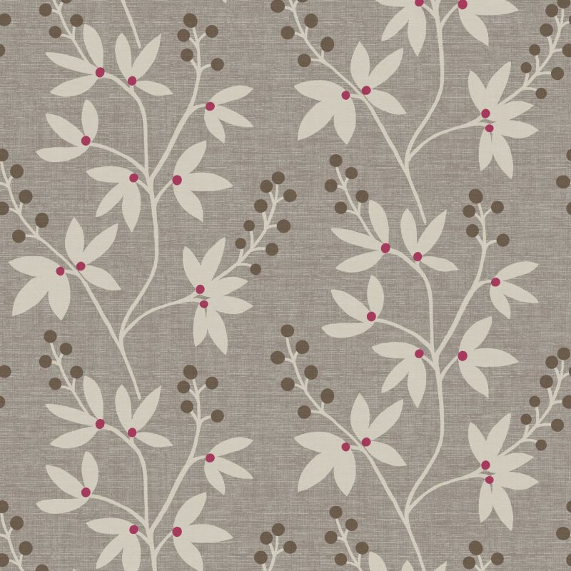Brewster 2535-20611 Currant Grey Botanical Trail Wallpaper Grey Home