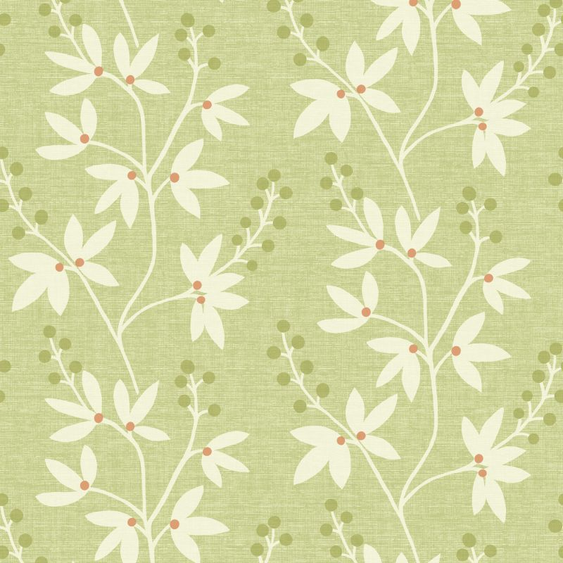 "Brewster 2535-20613-SAM 8""x 10"" Sample of 2535-20613 Green Wallpaper"