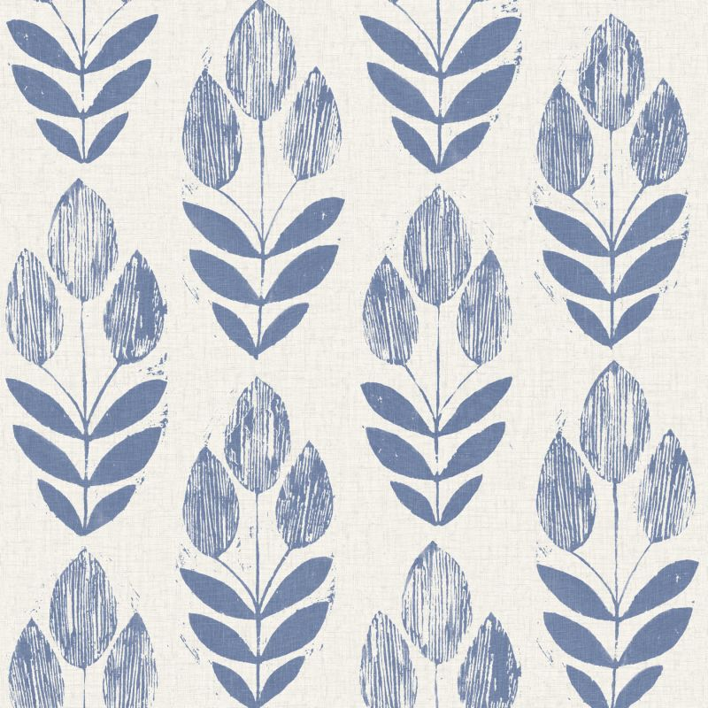 Brewster 2535-20652 Scandinavian Blue Block Print Tulip Wallpaper Blue