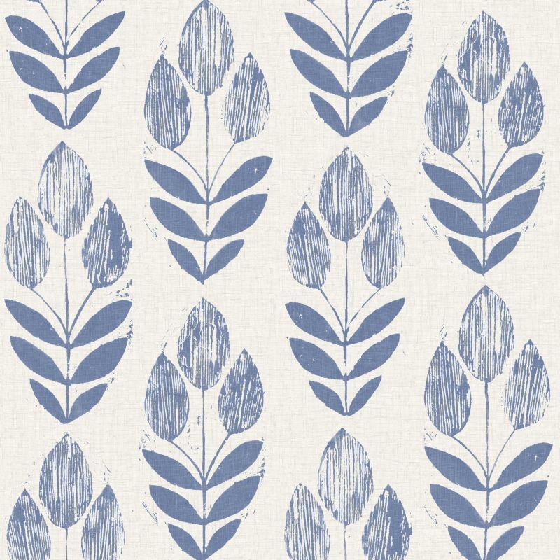 Brewster 2535-20652 Scandinavian Blue Block Print Tulip Wallpaper Blue