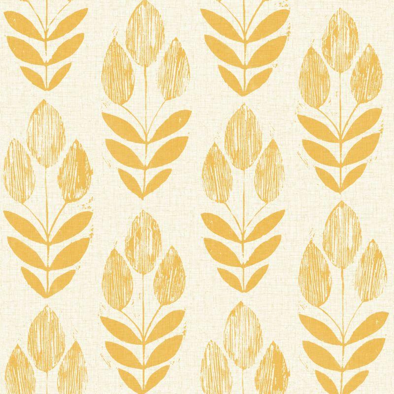 Brewster 2535-20654 Scandinavian Yellow Block Print Tulip Wallpaper