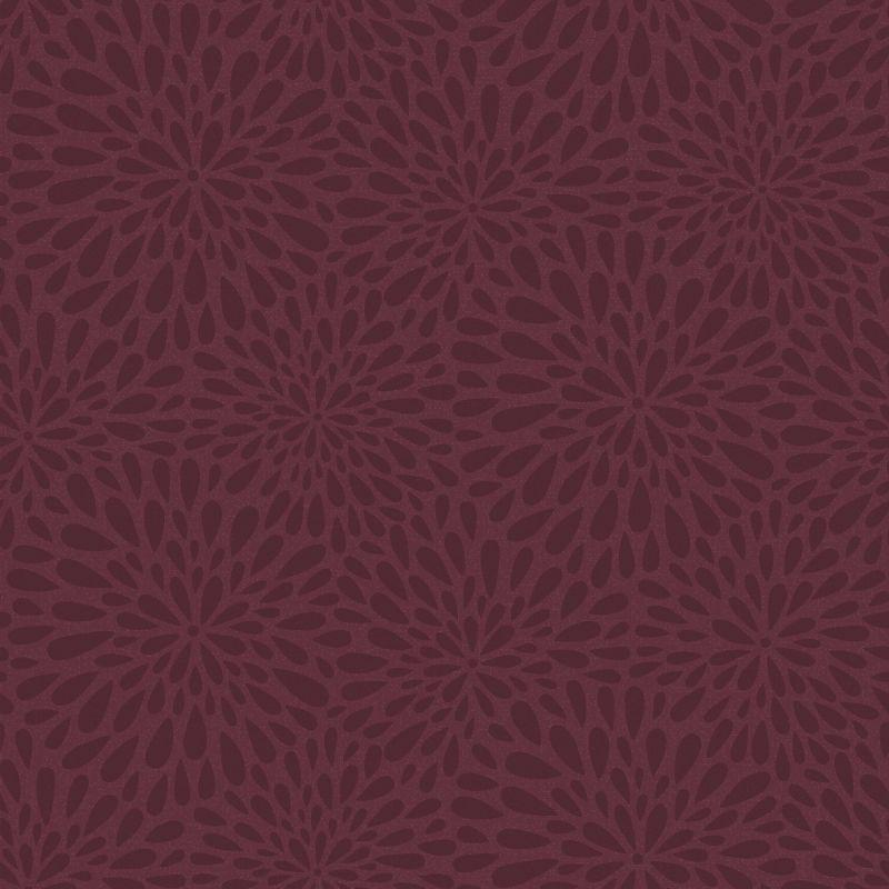 Brewster 2535-20663 Calendula Maroon Modern Floral Wallpaper Maroon
