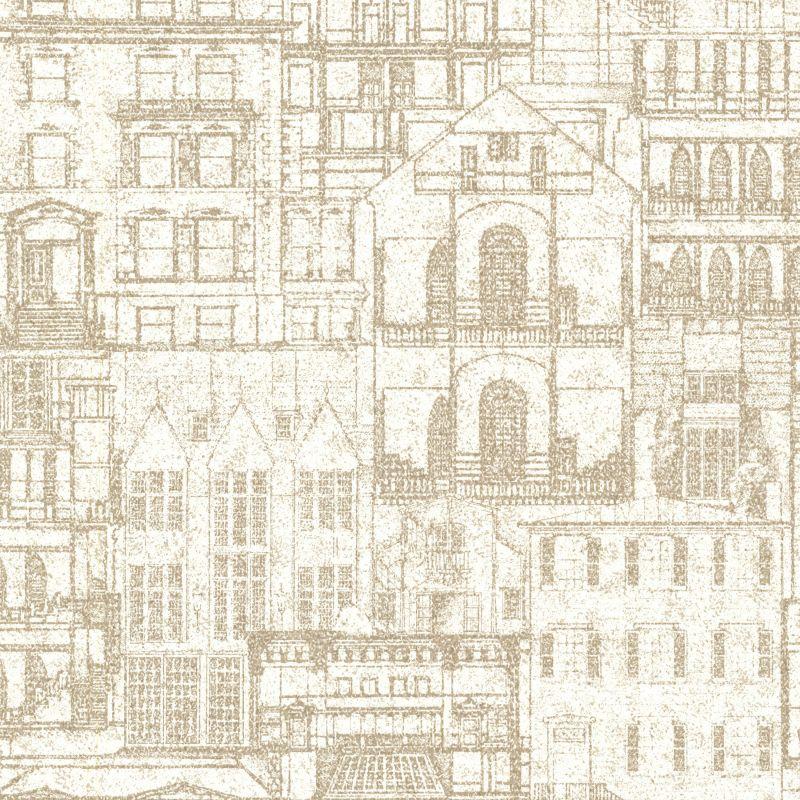 Brewster 2604-21256 Facade Beige Vintage Blueprint Wallpaper Beige