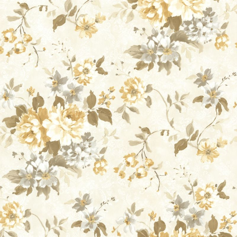 Brewster 2605-21612 Eloise Yellow Floral Wallpaper Yellow Floral Home