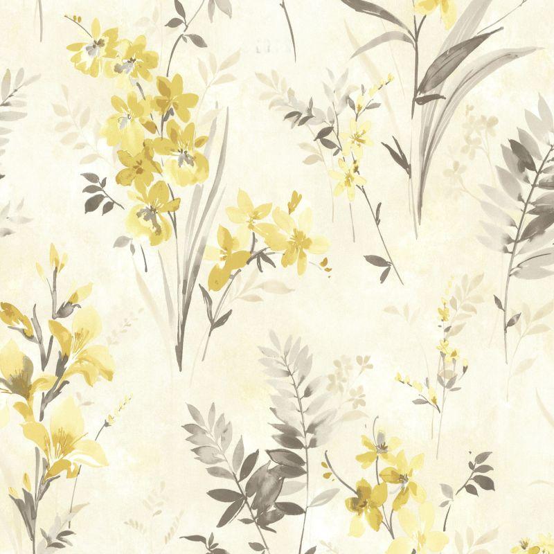 Brewster 2605-21629 Henrietta Yellow Watercolor Floral Wallpaper