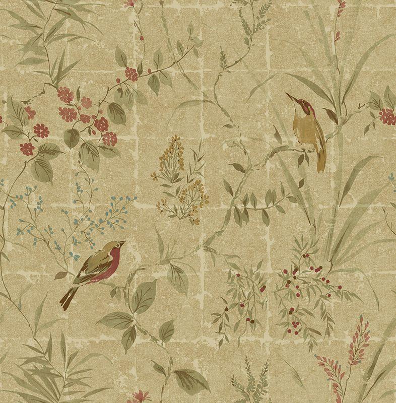 Brewster 2669-21704 Imperial Green Garden Chinoiserie Wallpaper Green