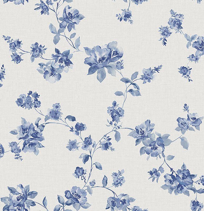 Brewster 2669-21762 Wen Sapphire Festival Floral Wallpaper Sapphire