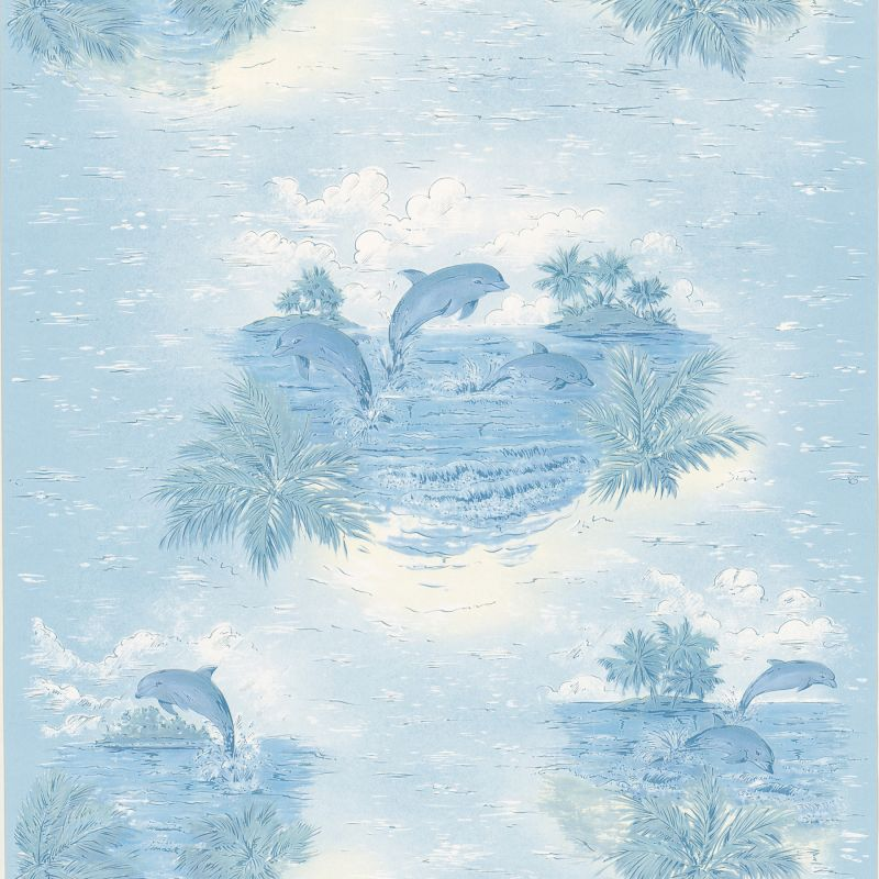 Brewster 347-12807 Alcott Blue Tropical Dolphin Wallpaper Blue Home