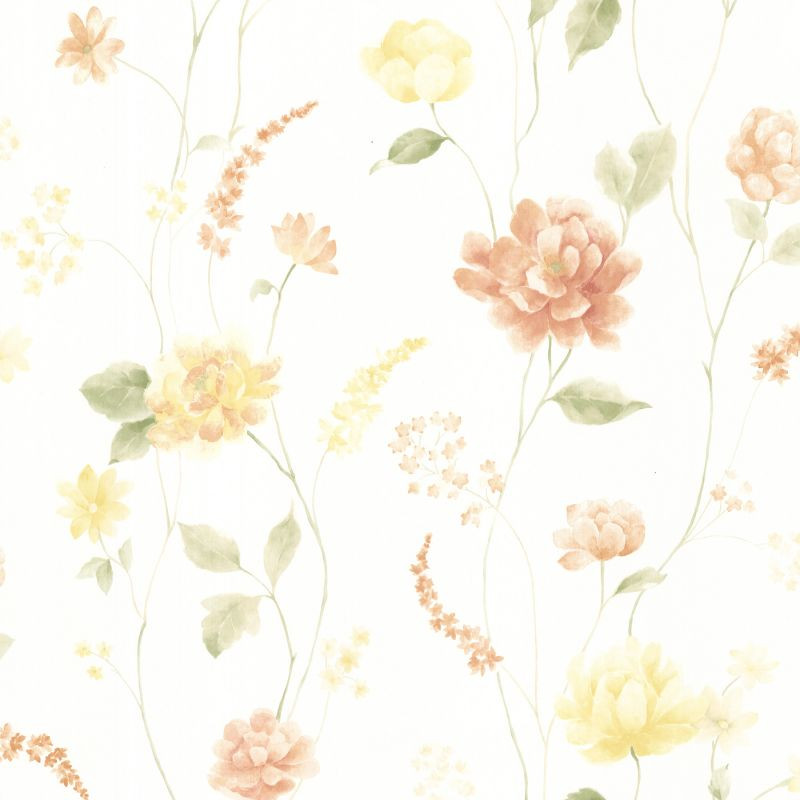 Brewster 347-20104 Hanne Yellow Floral Pattern Wallpaper Yellow Home