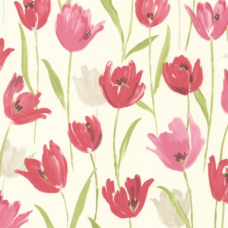 Brewster 347-20116 Finch Pink Hand Painted Tulips Wallpaper Pink Home
