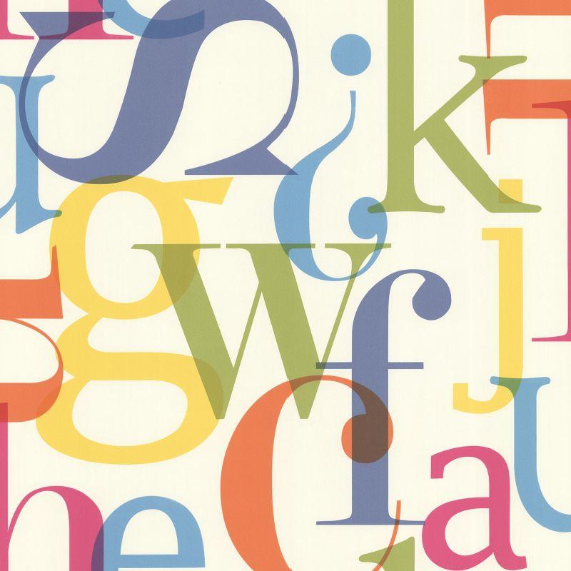 Brewster 347-20139 Angus Multicolor Vintage Letter Font Wallpaper