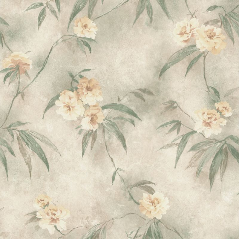 Brewster 347-44814 Segal Green Textured Floral Trail Wallpaper Green