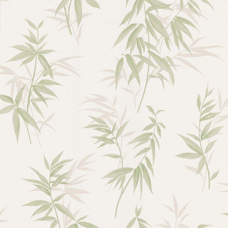 Brewster 347-63804 Oates Green Bamboo Leaf Texture Wallpaper Green