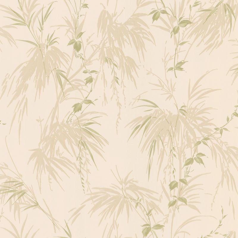Brewster 347-63831 Merrick Green Satin Leaf Motif Wallpaper Green Home