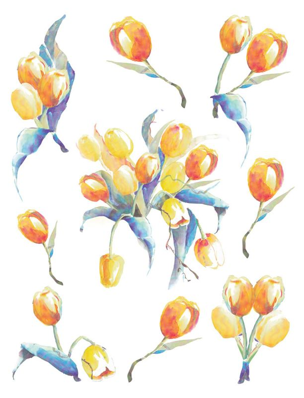 Brewster 350-0186 Tulip Wall Decals Tulip Home Decor Wall Decals