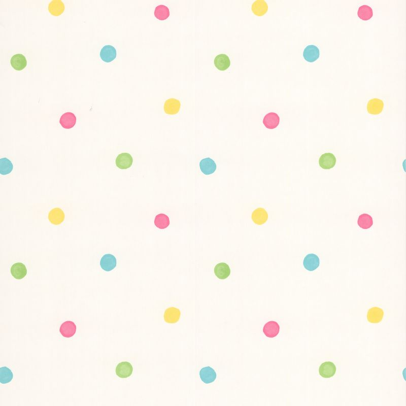 Brewster 443-90517 Sprinkles White Polka Dots Wallpaper White Home