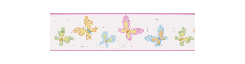 Brewster 443B90523 Flutter-By Border Pink Butterflies Border Pink Home