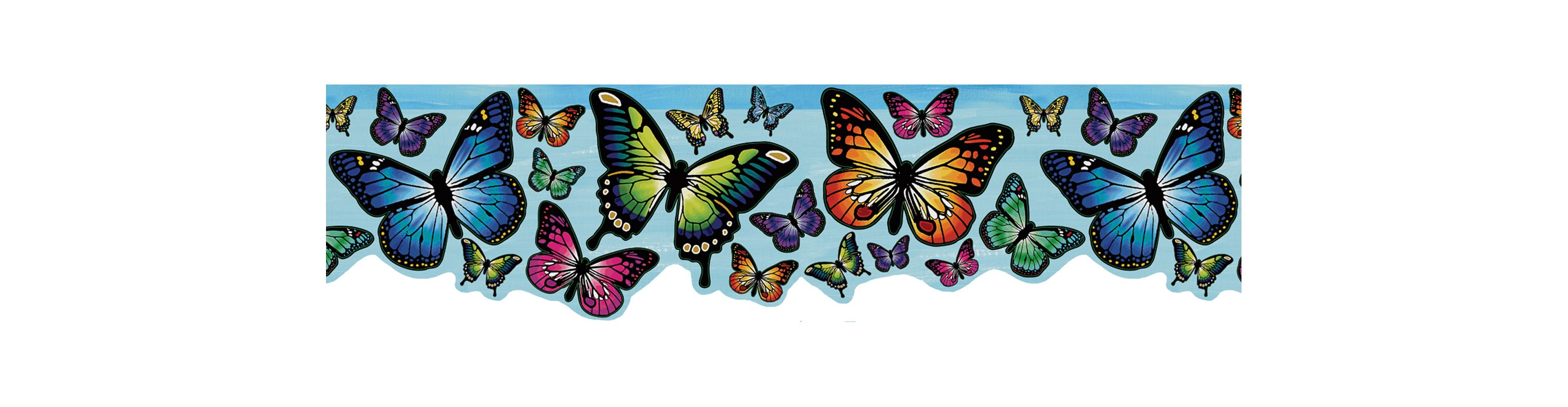 Brewster 443B97626 Butterfly Magic Border Blue Butterfly Border Blue