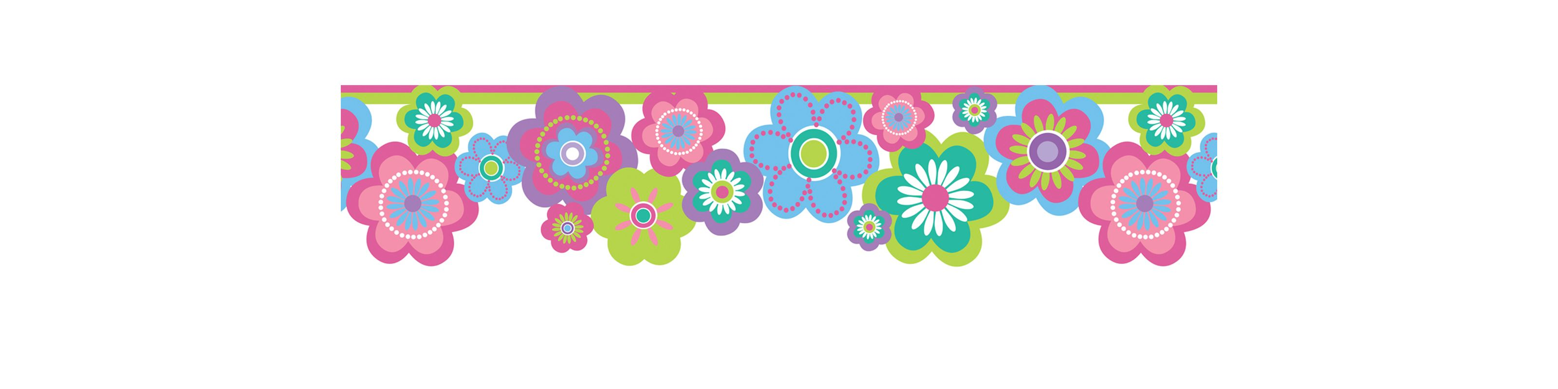 Brewster 443B97627 Flower Power Border Multicolor Flower Border