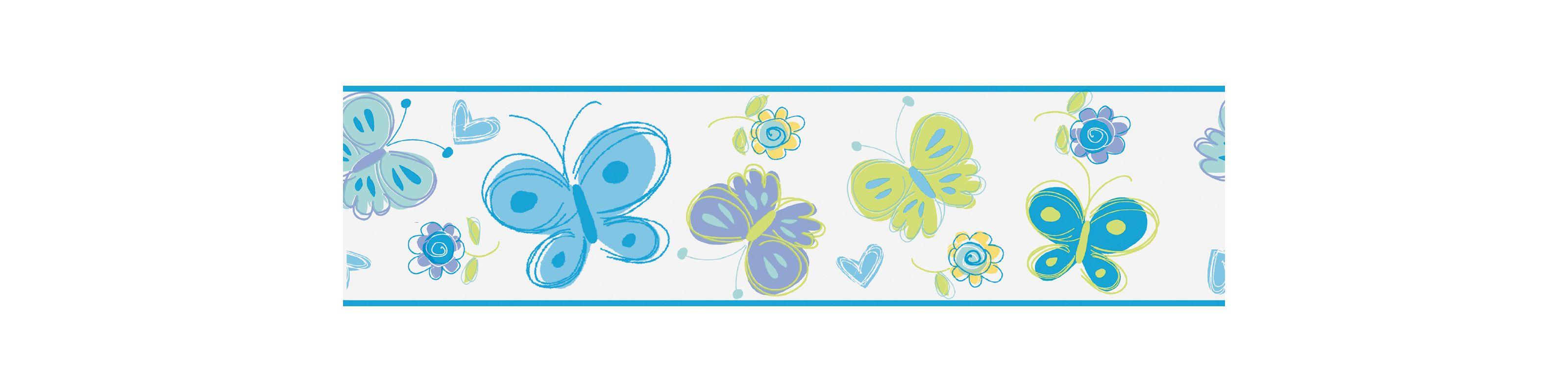 Brewster 443B97629 Butterfly Garden Border Blue Butterfly Border Blue