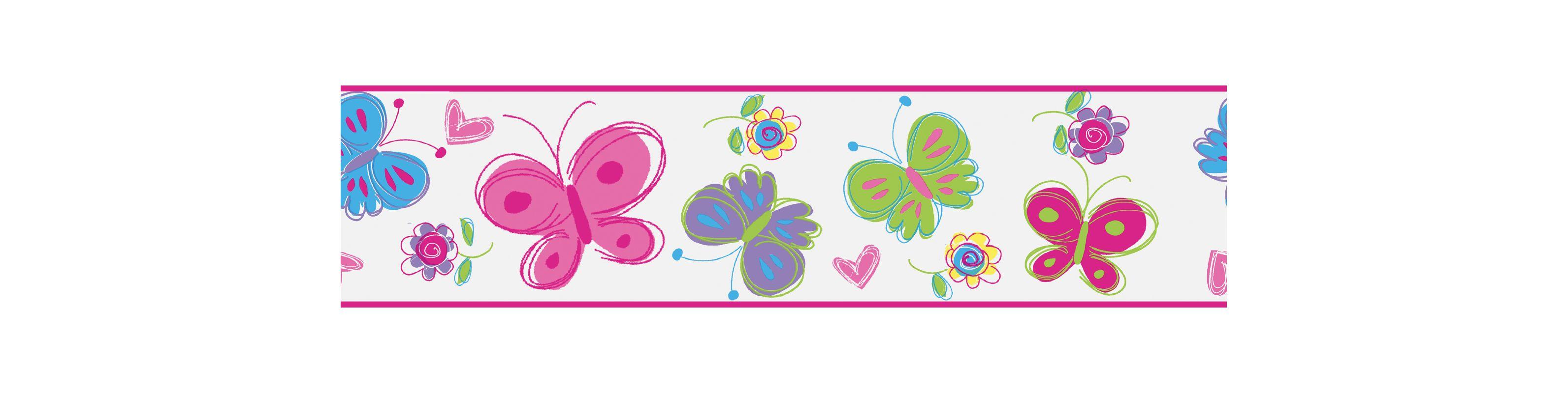 Brewster 443B97630 Butterfly Garden Border Pink Butterfly Border Pink