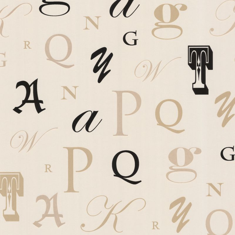 Brewster 450-67336 Manuscript Beige Letter Font Wallpaper Beige