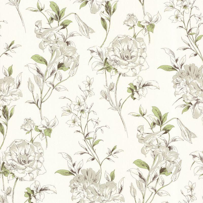 Brewster 450-67371 Jolie Green Floral Toss Wallpaper Green Floral Home