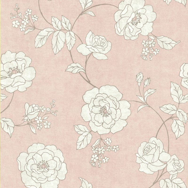 Brewster 62-65842 Madelaine Pink Outline Rose Wallpaper Pink Home