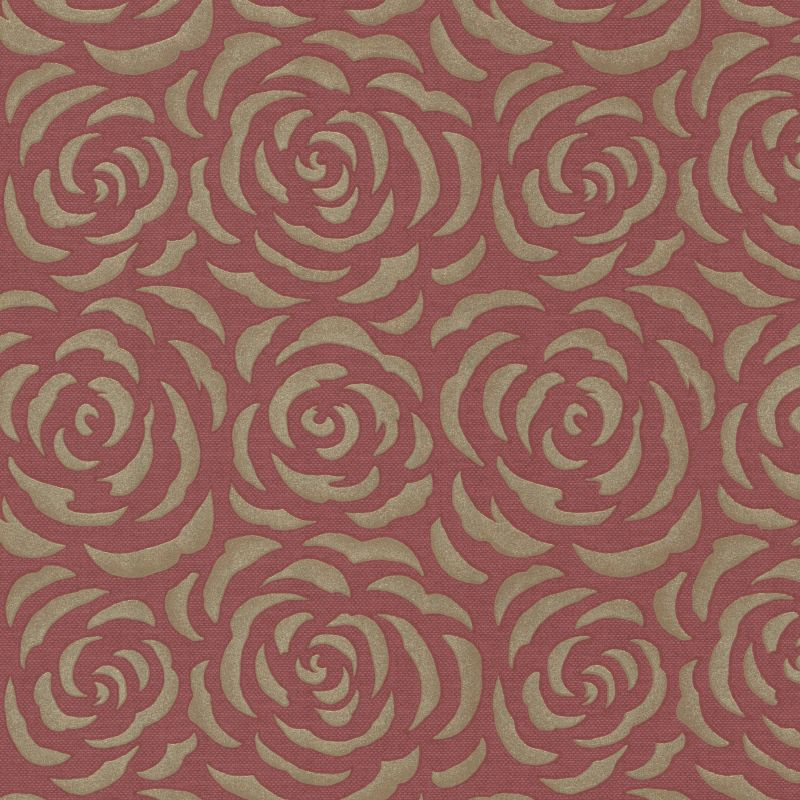 Brewster 671-68524 Rosette Red Rose Pattern Wallpaper Red Home Decor