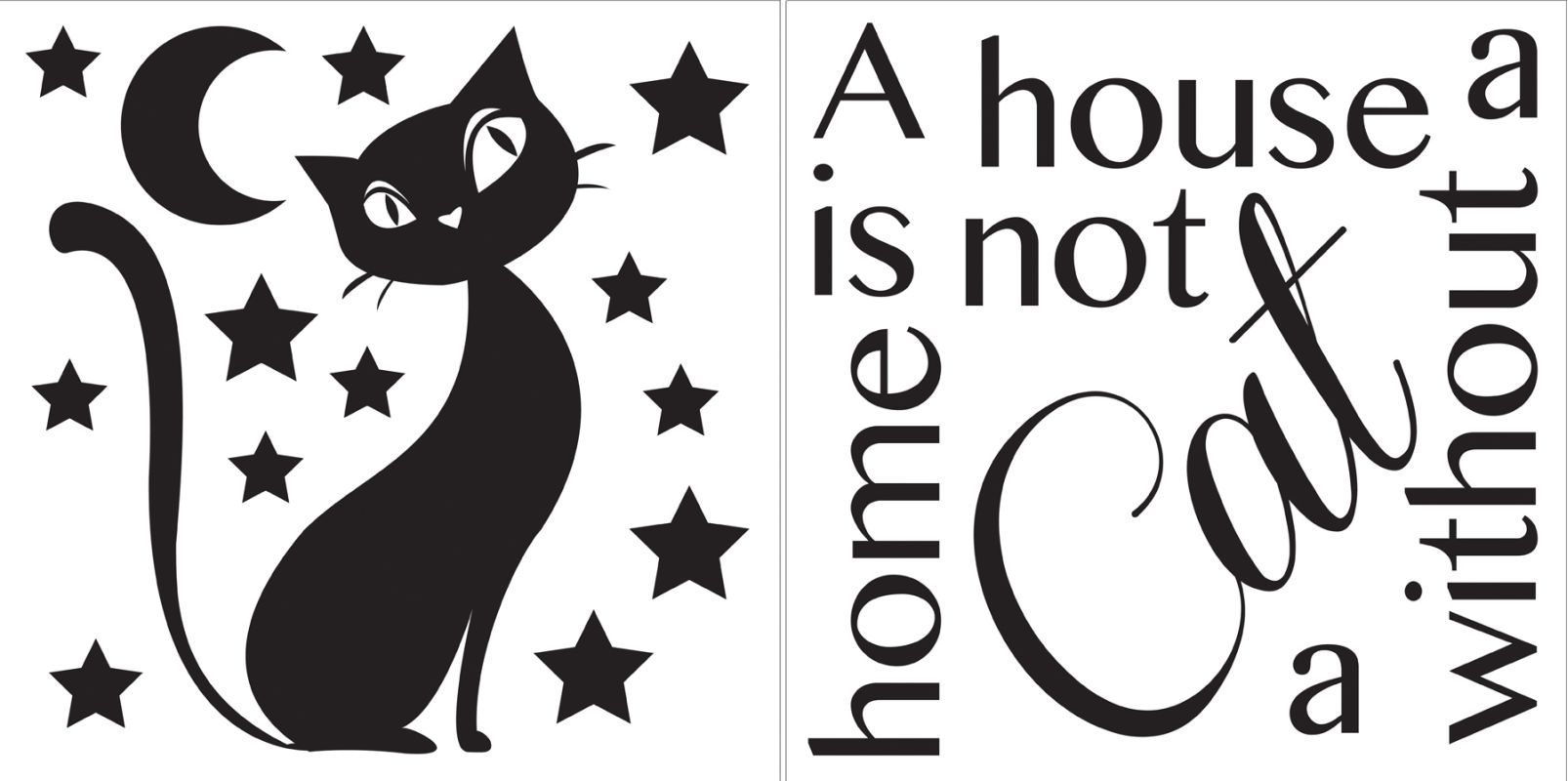 Brewster CR-62137 Cat Silhouette Quote Home Decor Wall Decals