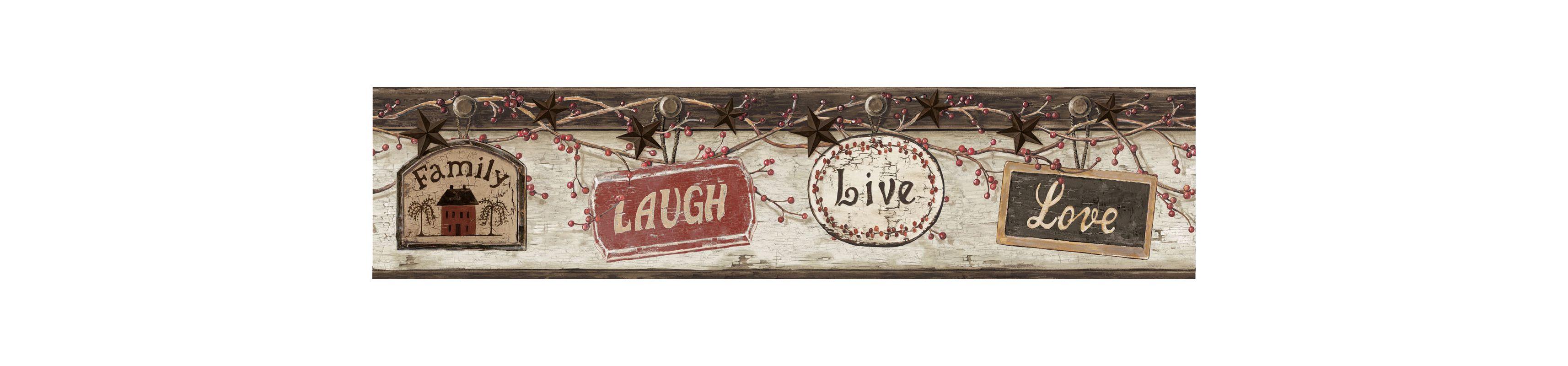 Brewster CTR63152B Kinsey Black Live Laugh Love Border Wallpaper Black