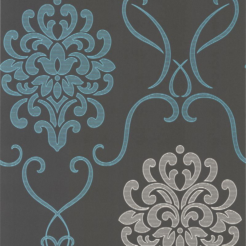 Brewster DL30443 Suzette Aqua Modern Damask Wallpaper Aqua Home Decor
