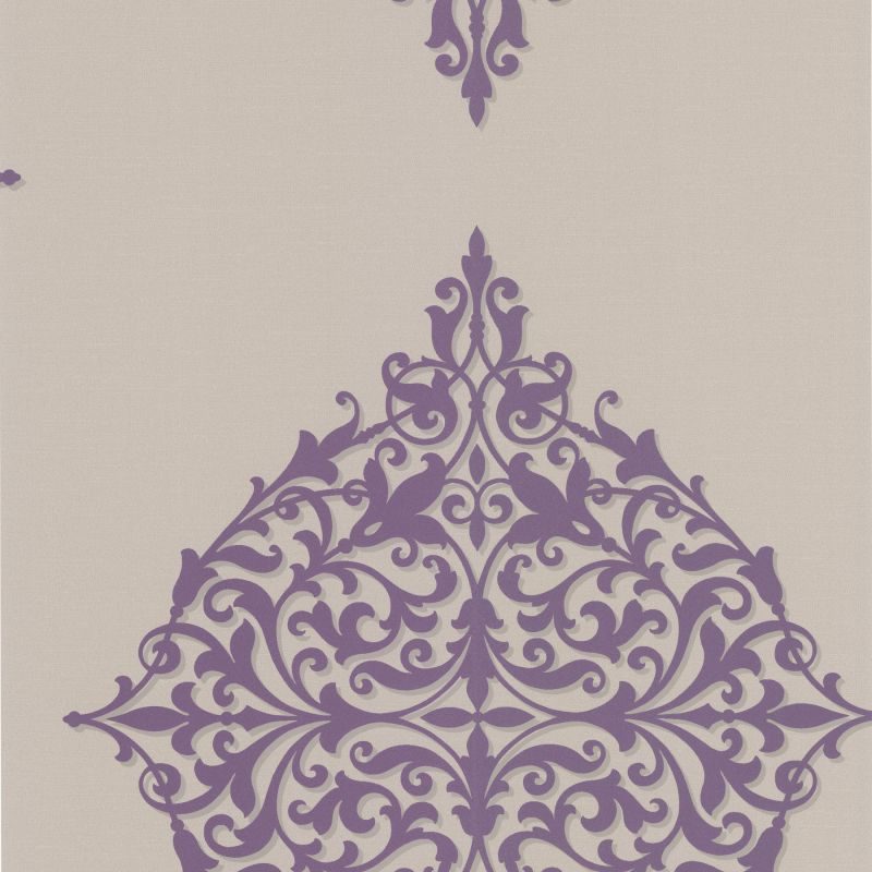Brewster DL30622 Pastiche Purple Classical Motif Wallpaper Purple