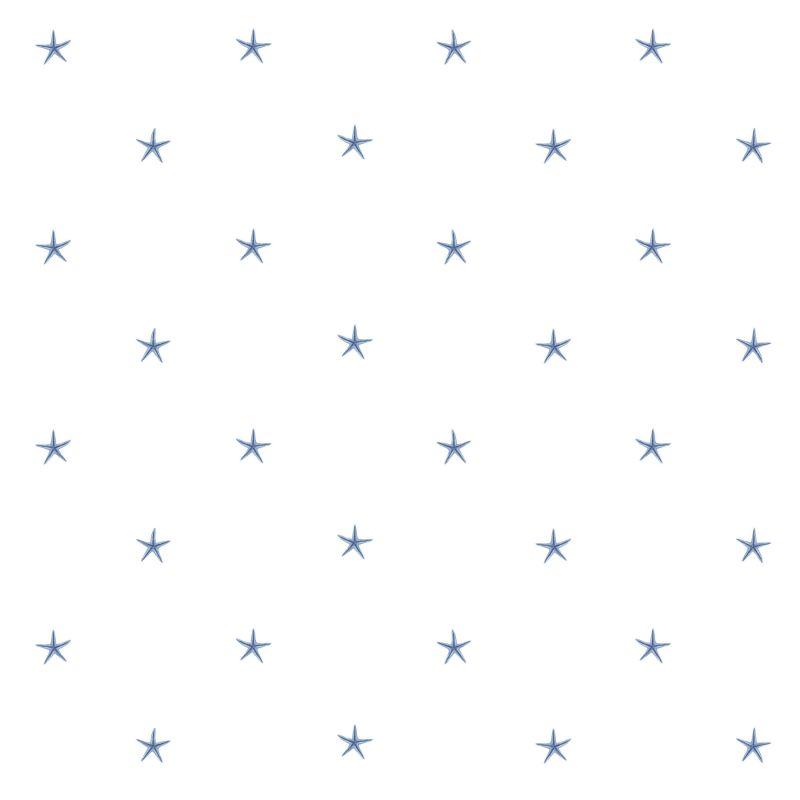 Brewster DLR54541 White Sands Blue Starfish Wallpaper Blue Starfish