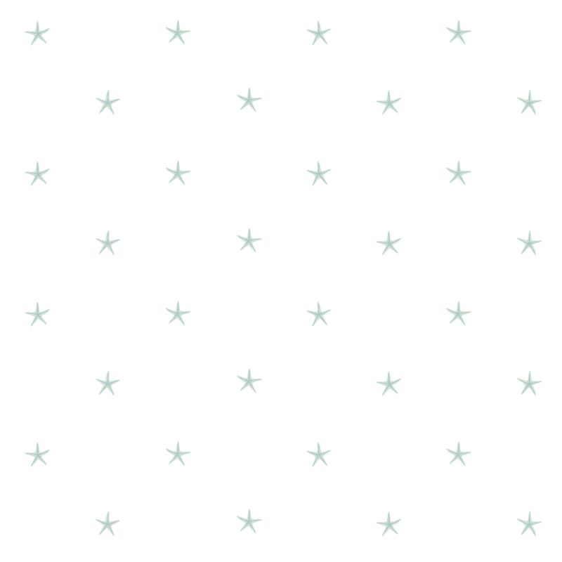 Brewster DLR54542 White Sands Green Starfish Wallpaper Green Starfish
