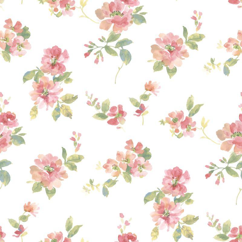 Brewster DLR54592 Captiva Peach Watercolor Floral Wallpaper Peach