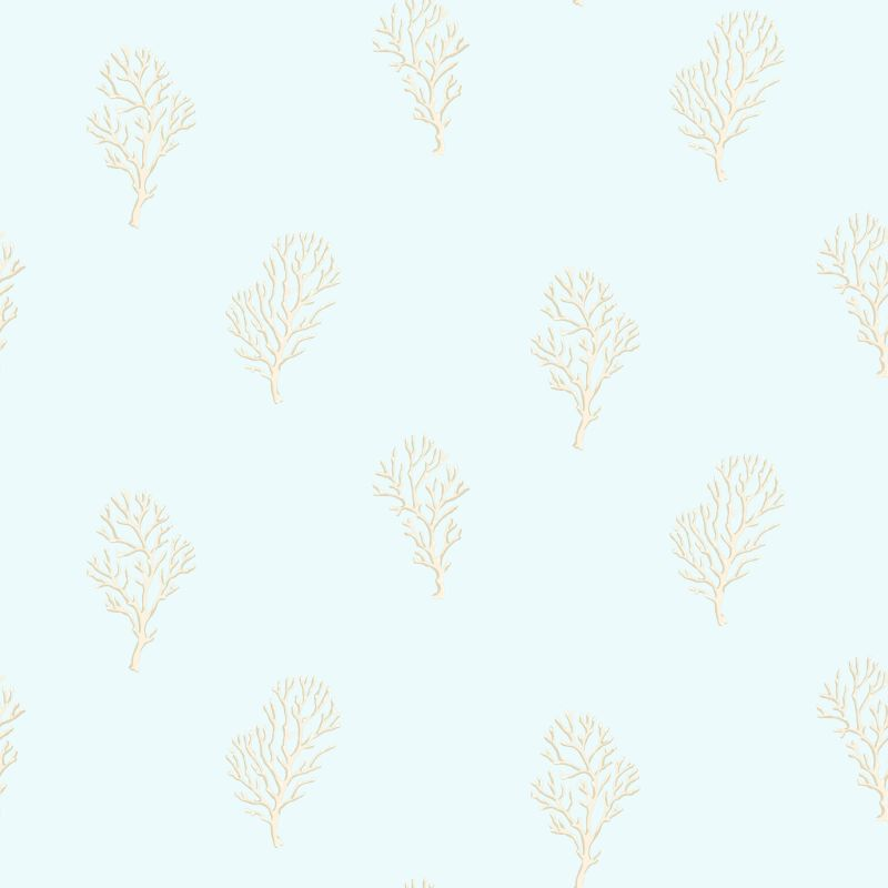 Brewster DLR54661 Islamorada Blue Coral Branch Wallpaper Blue Coral