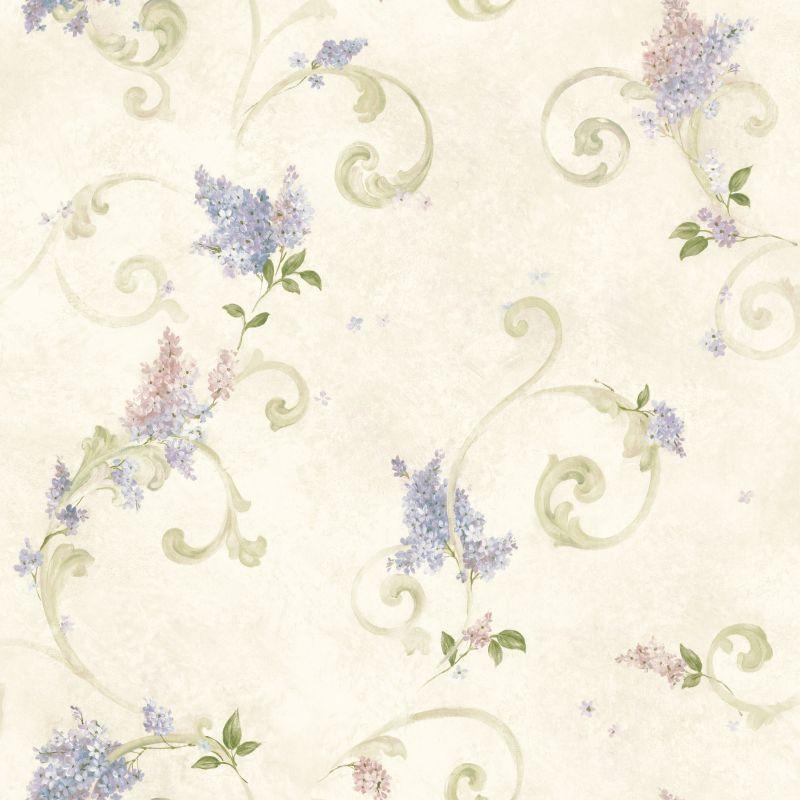 Brewster FFR21601 Neutrals Lilac Acanthus Wallpaper Lilac Neutrals