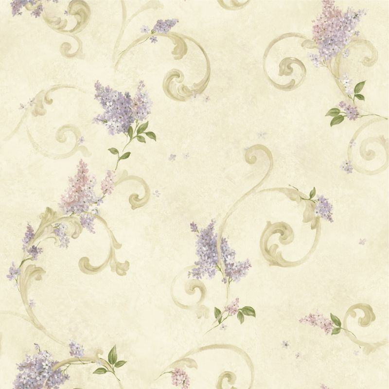 Brewster FFR21603 Beige Lilac Acanthus Wallpaper Lilac Beige Home