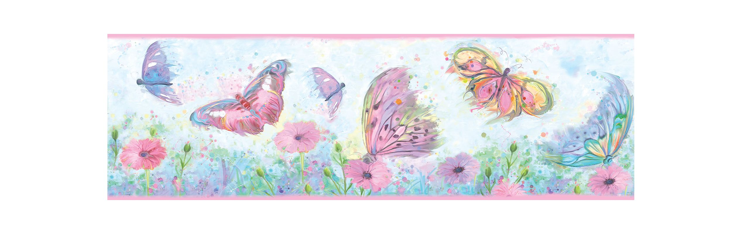 Brewster HAS01002B Ava Pink Butterfly Swoosh Border Wallpaper Pink