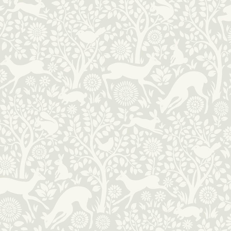 Brewster HAS01232 Anahi Light Grey Forest Fauna Wallpaper Light Grey