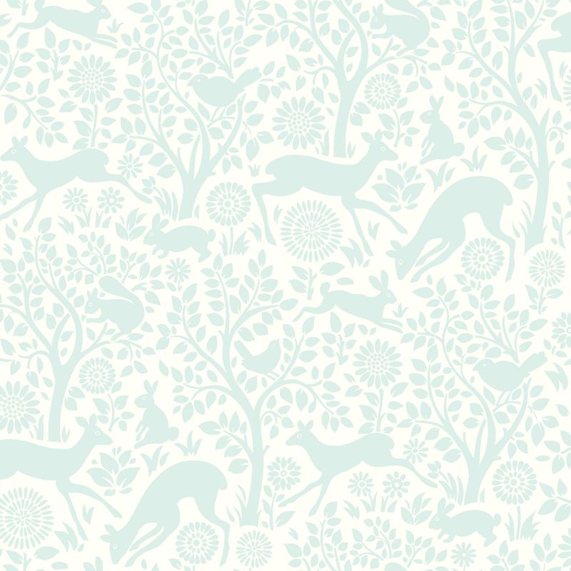 Brewster HAS01234 Anahi Aqua Forest Fauna Wallpaper Aqua Forest Home