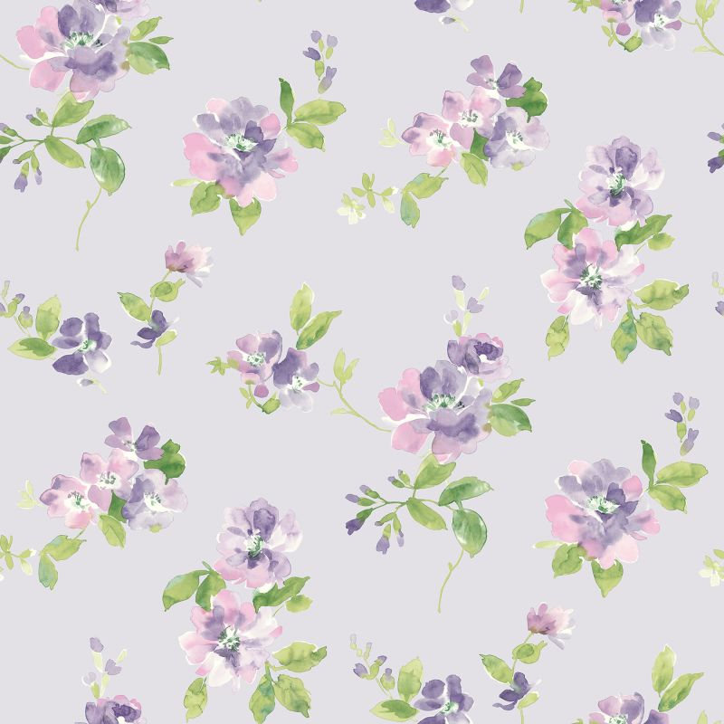 Brewster HAS54596 Captiva Lavender Floral Toss Wallpaper Lavender
