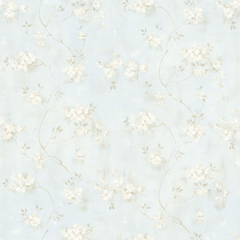 Brewster MEA44107 Rosemoor Blue Country Floral Wallpaper Blue Floral