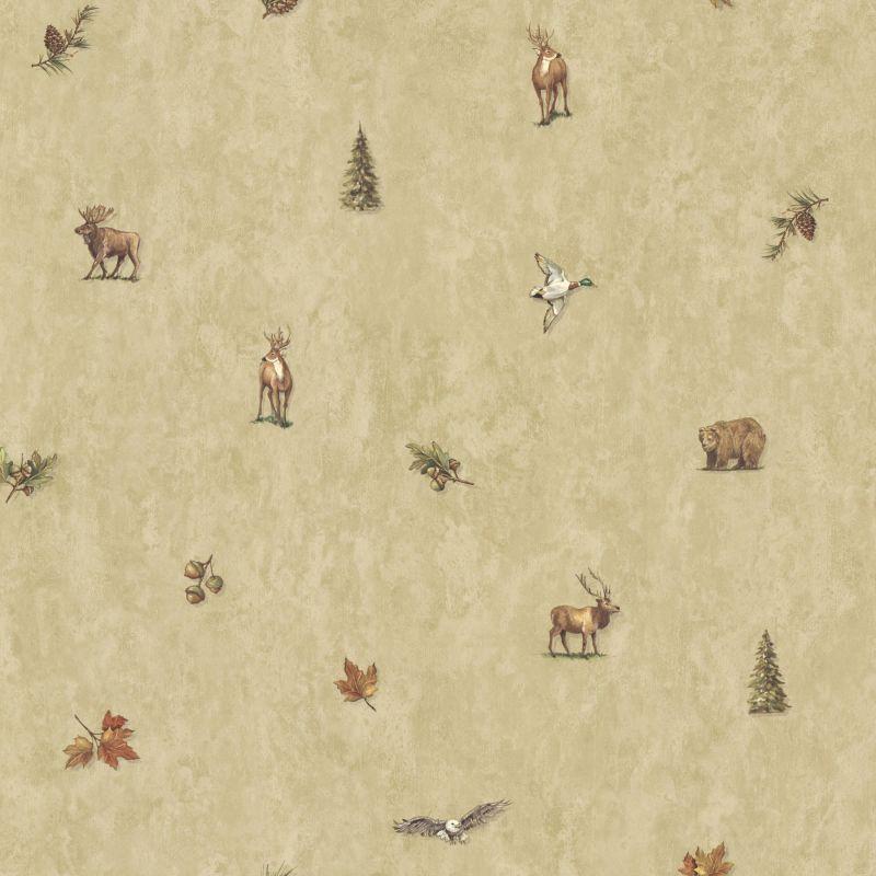 Brewster TLL01452 Hiram Wheat Animal Toss Wallpaper Wheat Animal Toss